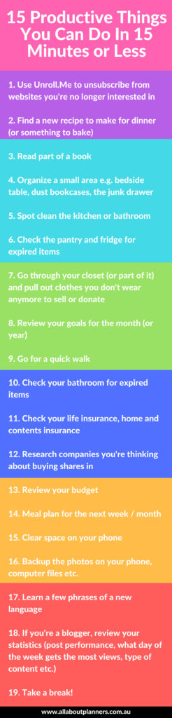 15 productive things you can do in 15 minutes or less time managment productivity blog business pomodoro routine tasks