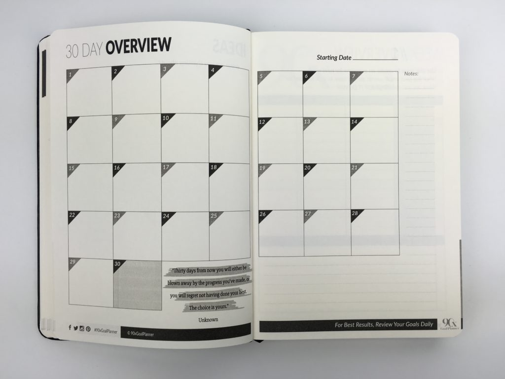 90x daily goal planner monthly calendar countdown accountability gender neutral day to a page inspirational quote review