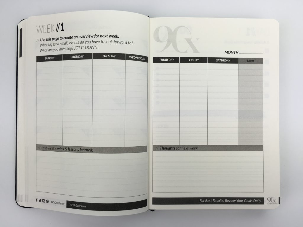 90x daily goal planner weekly spread vertical sunday start project countdown accountability gender neutral day to a page inspirational quote review
