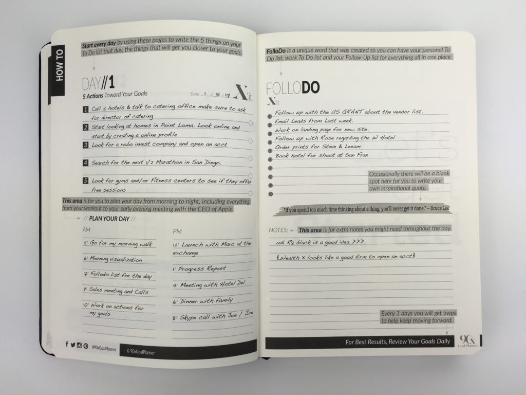 90x goal planner review daily planner 2 days per page checklist lined gender neutral productivity inspirational quotes undated countdown