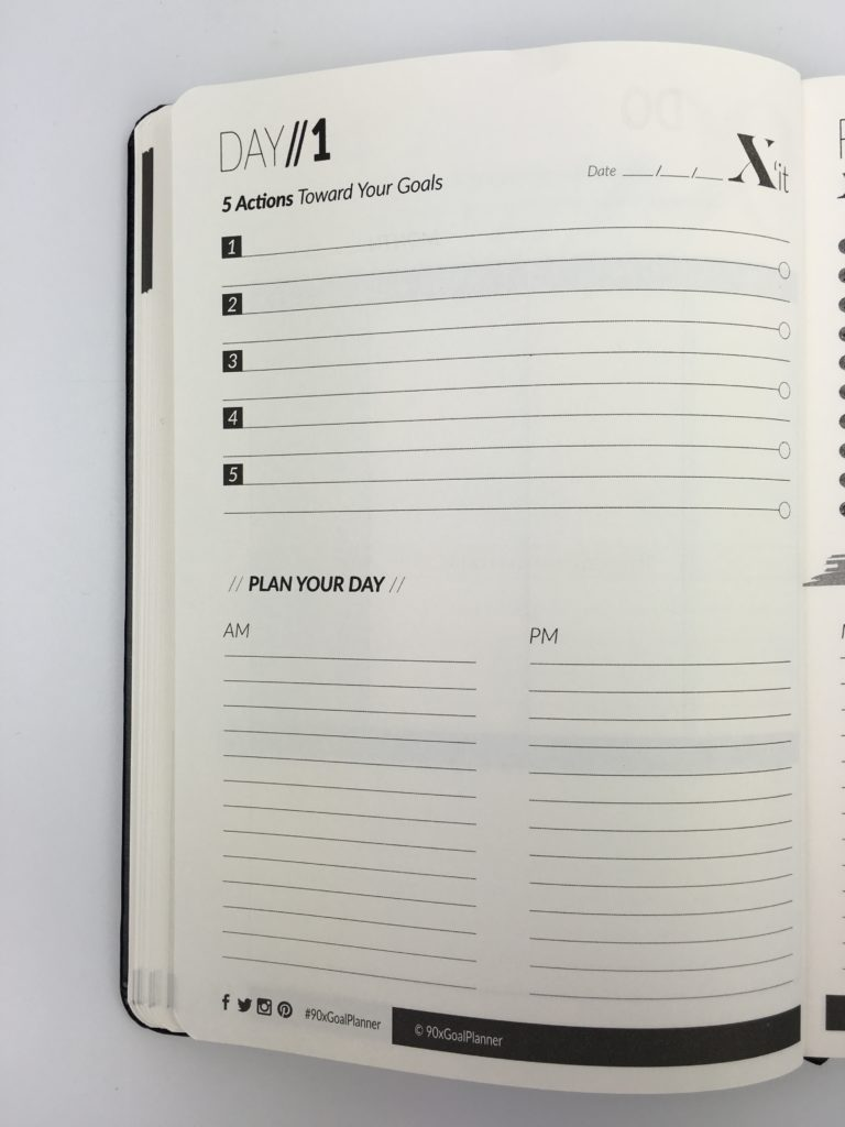 90x goal planner review productvity goal setting pros and cons day to a page am pm lined gender neutral no scheduling space checklist