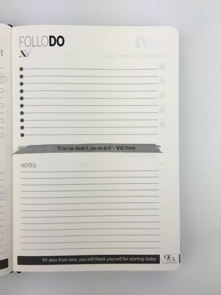 90x goal planner review productvity goal setting pros and cons day to a page am pm lined gender neutral no scheduling space checklist countdown