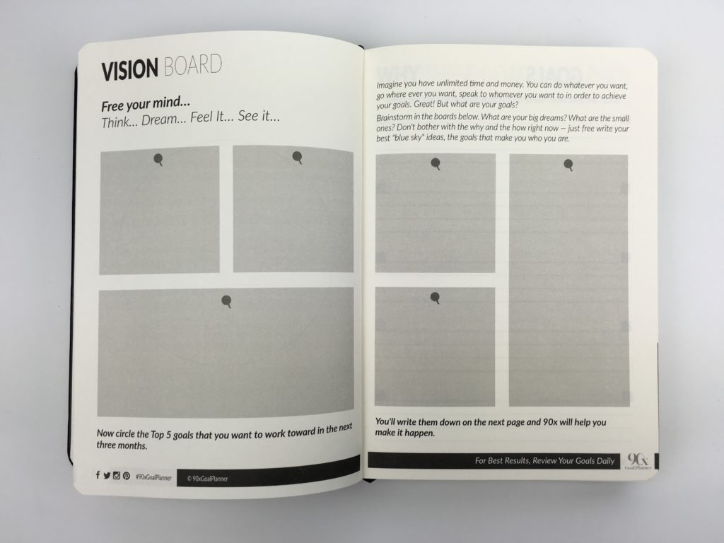 90x goal planner vision board productivity undated ecourse planner blogger influencer countdown habit tracking daily day per page