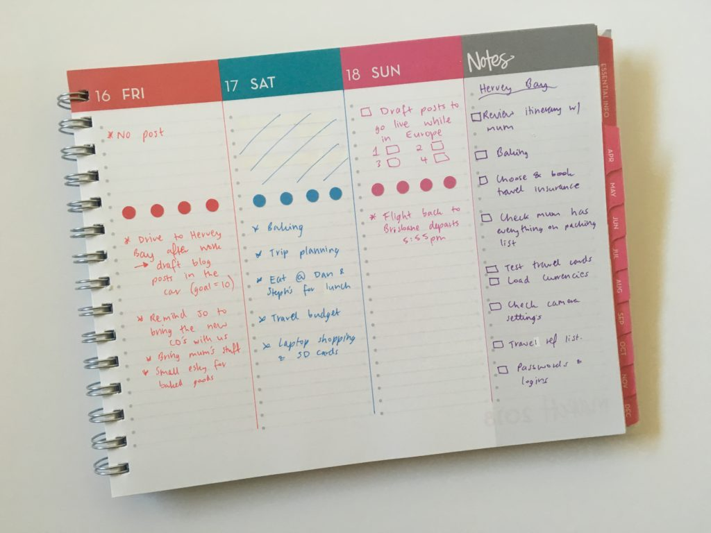 dabney lee for blue sky horizontal weekly planner list maker lined colorful plan with me weekly spread reminder to do trip planning
