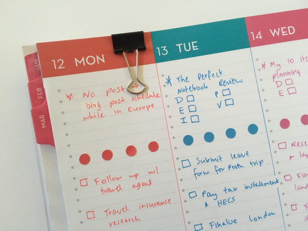 dabney lee for blue sky horizontal weekly planner list maker lined colorful plan with me weekly spread sticker decorating colored dot simple