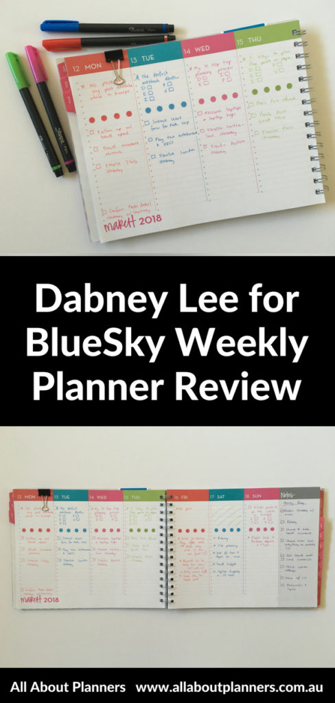 dabney lee for blue sky weekly planner review horizontal vertical lined landscape page orientation week starts monday pros cons