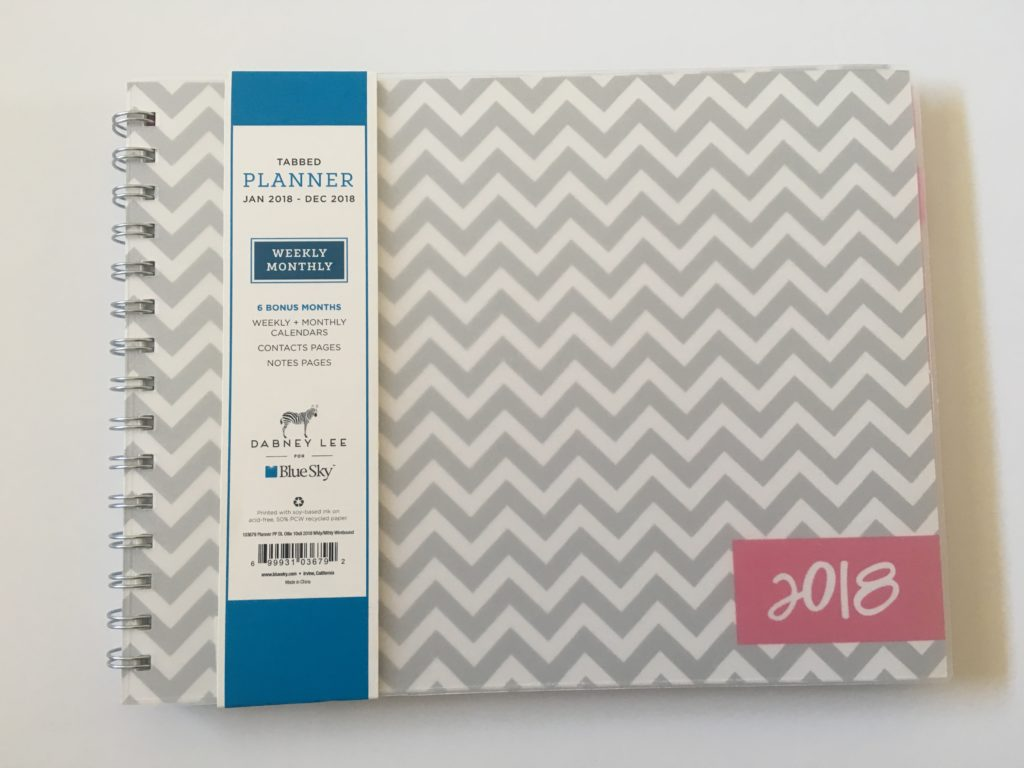dabney lee for blue sky weekly planner review horizontal vertical monday start wide columns colorful chevron wire binding pros and cons