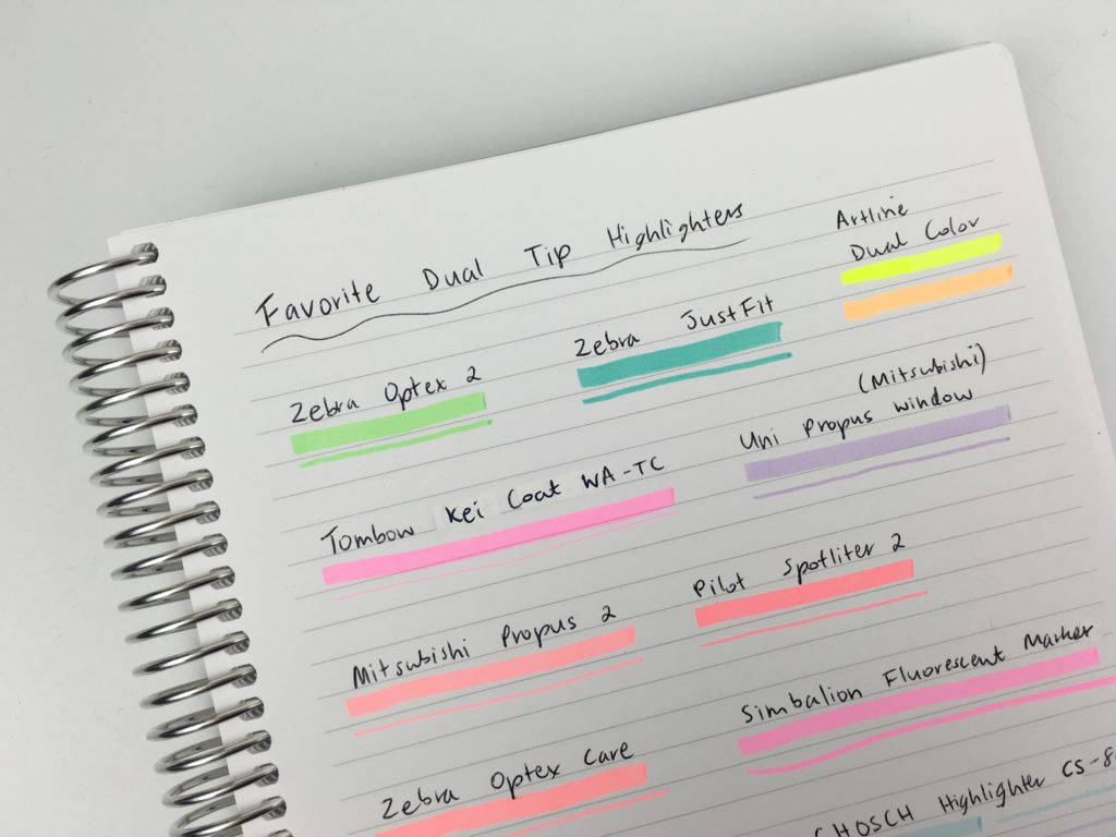 favorite dual tip highlighters for planning chisel tip thin tip rainbow pastel mildliner review recommendations planner supplies must have accessories zebra tombow