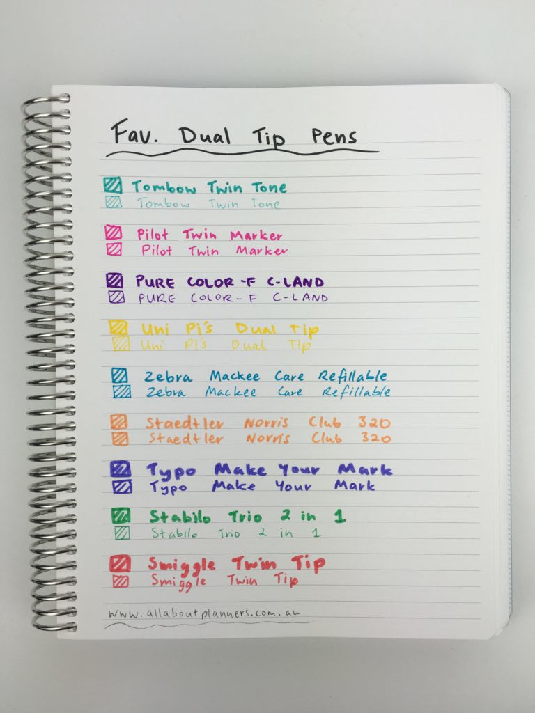 favorite dual tip marker pens twin tip roundup best planner pens supplies no ghosting bleed through review all about planners