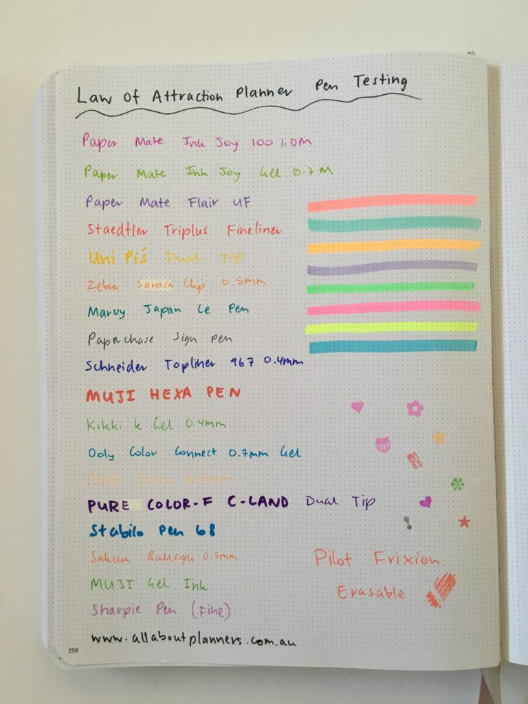 law of attraction planner pen testing ghosting bleed through highlighters pens stamps markers pros and cons