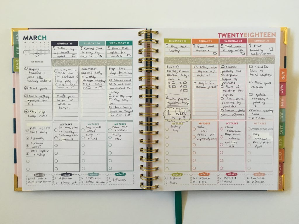lorna leigh lane weekly planner plan with me spread rainbow colorful australian monday monday start vertical alternative to erin condren lined sidebar functional cute-min