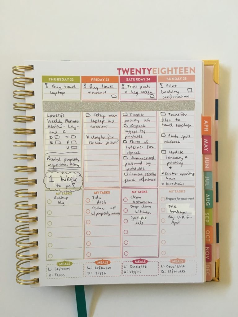 lorna leigh lane weekly planner review vertical hourly schedule alternative to erin condren cute colorful medium size meals lined