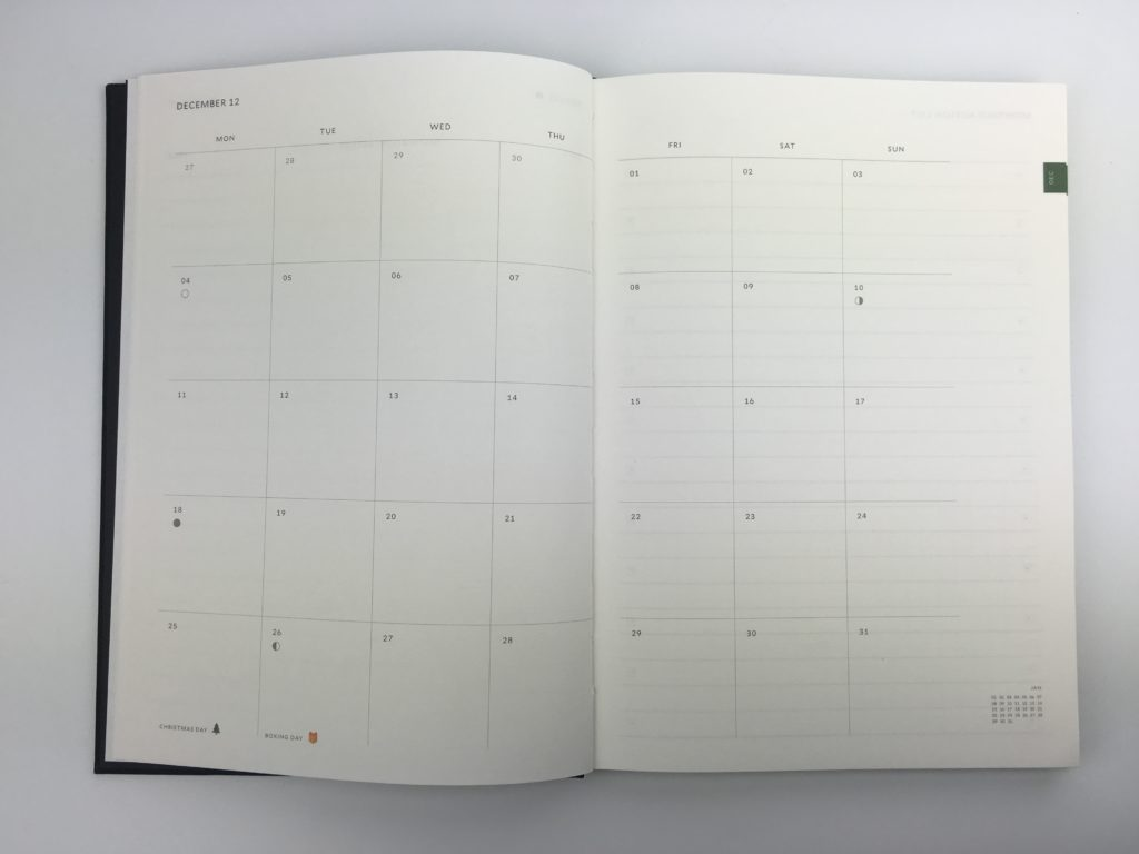 milligram weekly planner agenda diary organizer review monday start 2 page monthly calendar weekly spread horizontal