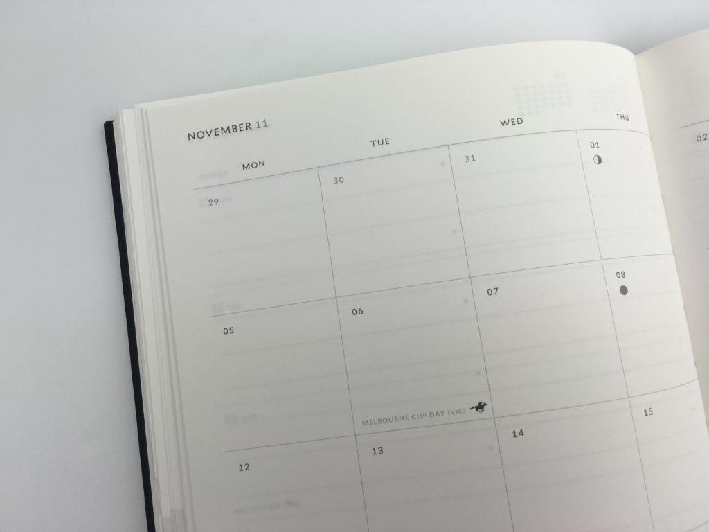 milligram weekly planner agenda diary review monthly calendar horizontal weekly spread grid paper pen test