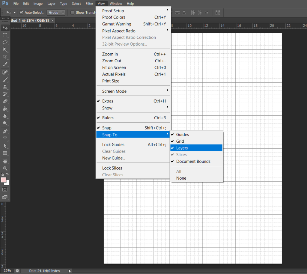 photoshop settings for making printables - snap to tool