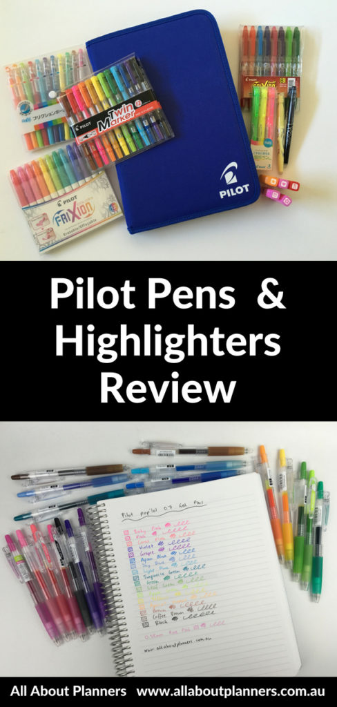pilot pens review erasable highlighters swatches pen testing poplol juice up rainbow ghosting bleed through frixion stamps
