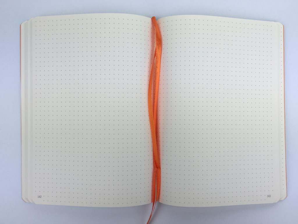 rhodia goal book for bullet journaling future log dot grid numbered pages a5 size colorful review pros and cons pen test paper quality ghosting ribbon bookmark