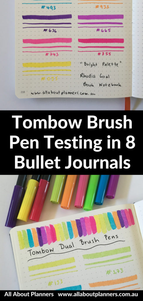 tombow brush pen testing bullet journal paper quality leuchtturm comparison bright color decorating ideas tips dot grid notebook
