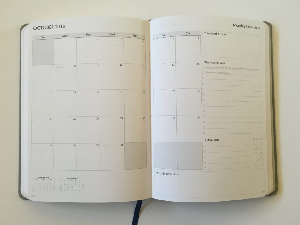 unbound planner review monthly calendar checklist goal setting functional layout list maker sunday start a5 bookbound