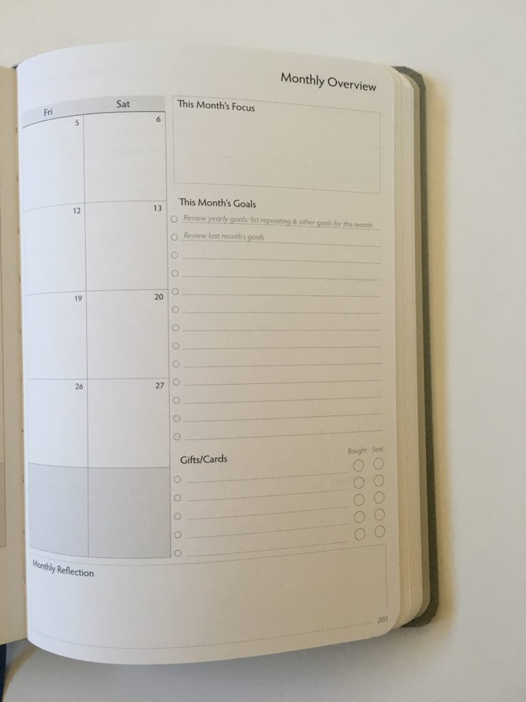 unbound weekly planner monthly calendar sidebar checklist minimalist 2 page monday start goal setting hardbound affordable usa