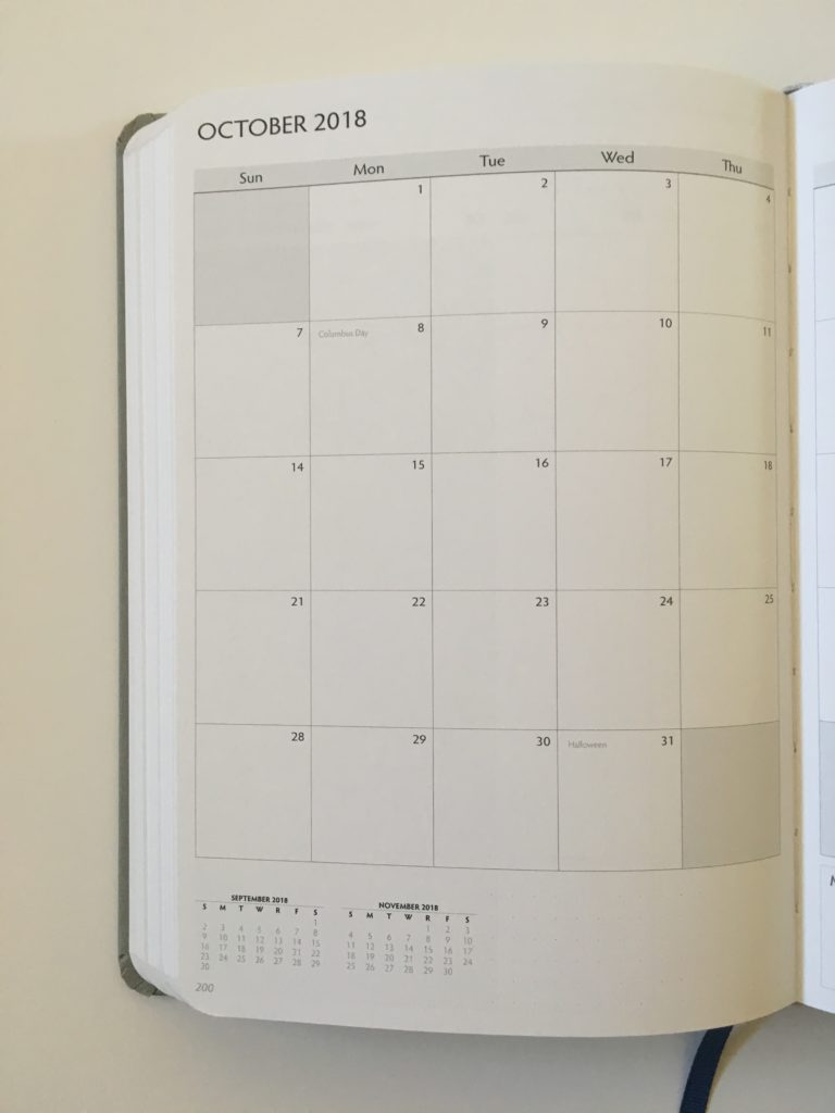 unbound weekly planner monthly calendar sidebar checklist minimalist 2 page monday start goal setting hardbound affordable usa holidays sun start