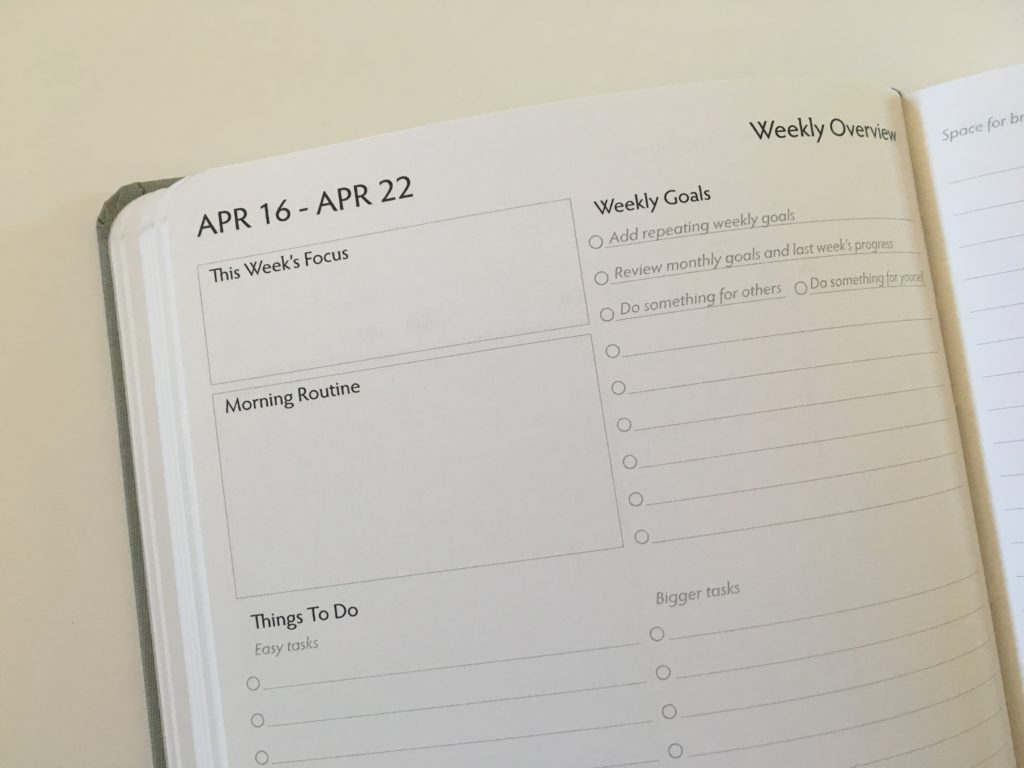 unbound weekly planner review pre plan the week overview checklist priorities list goals vertical alternative to erin condren morning routine task list