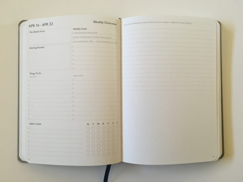 unbound weekly planner review pre plan the week overview checklist priorities list goals vertical alternative to erin condren morning routine task list habit tracker