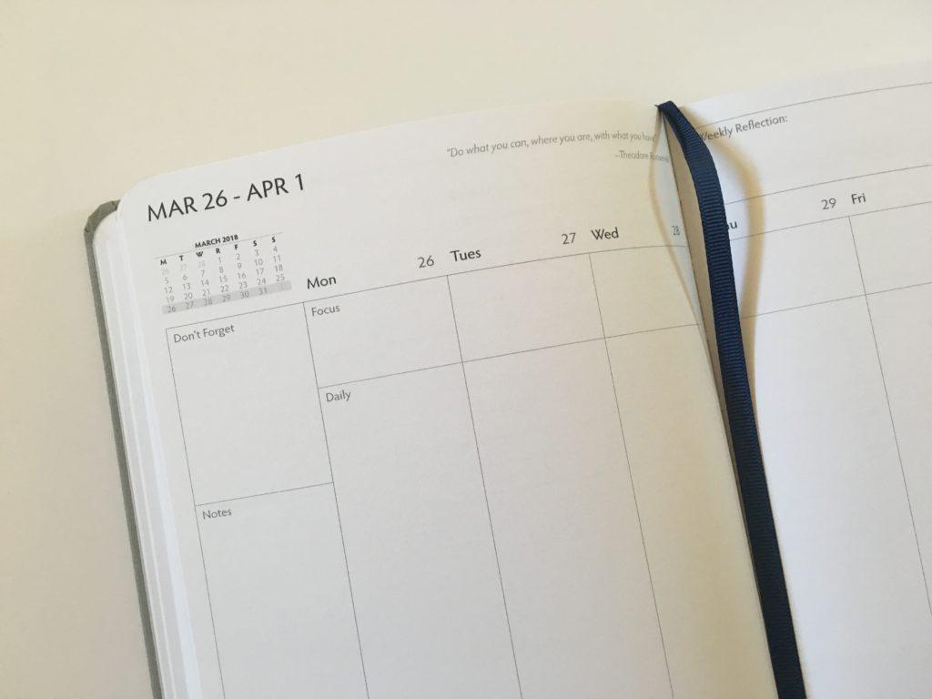 unbound weekly planner ribbon bookmark monday start verical 3 sections per day hardbound gender neutral minimalist