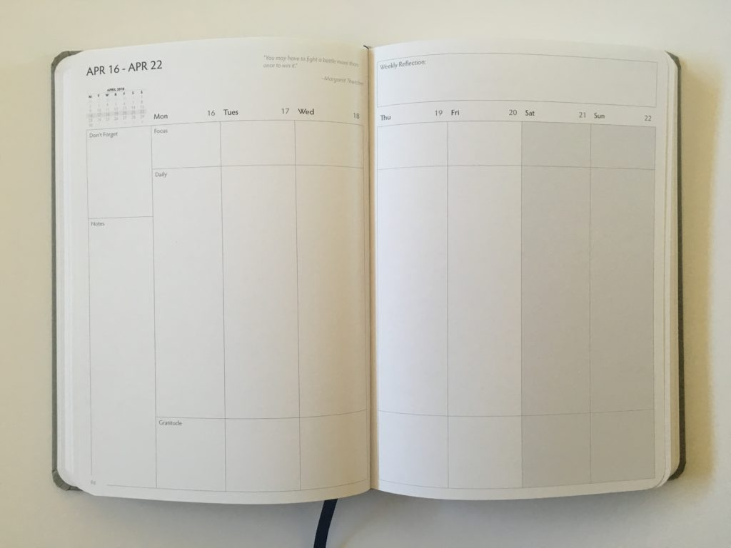 unbound weekly planner vertical review monday start family planner mom minimalist gender neutral goals habit tracker checklist