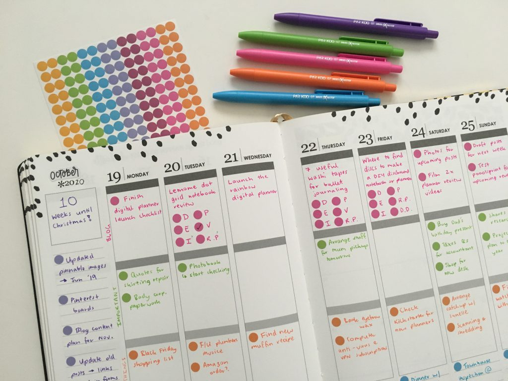Erin condren weekly spread color coded bloom dot stickers simple quick easy minimalist all about planners vertical spread_05