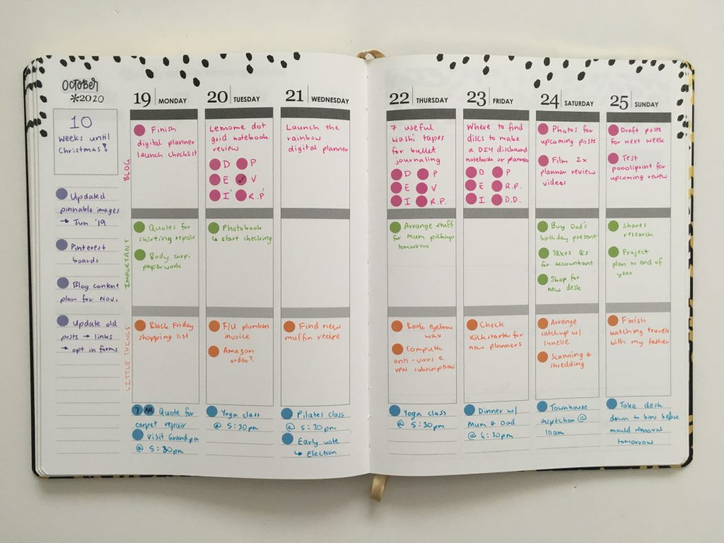 Erin condren weekly spread color coded bloom dot stickers simple quick easy minimalist hardcover sewn bound vertical spread_06