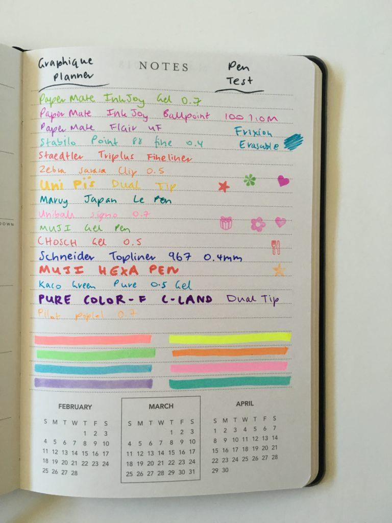 Graphique weekly planner pen test simple horizontal minimalist mini size