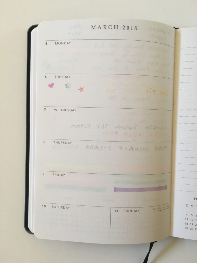Graphique weekly planner pen test simple horizontal minimalist mini size ghosting bleed through