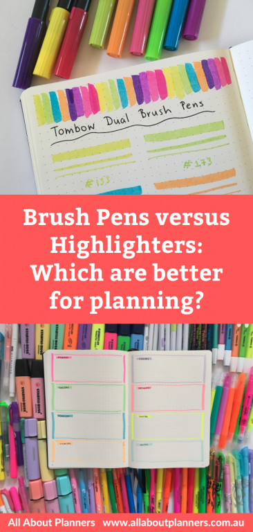brush pens versus highlighters which are better for planning bullet journaling comparison best stationery planner addict recommendation