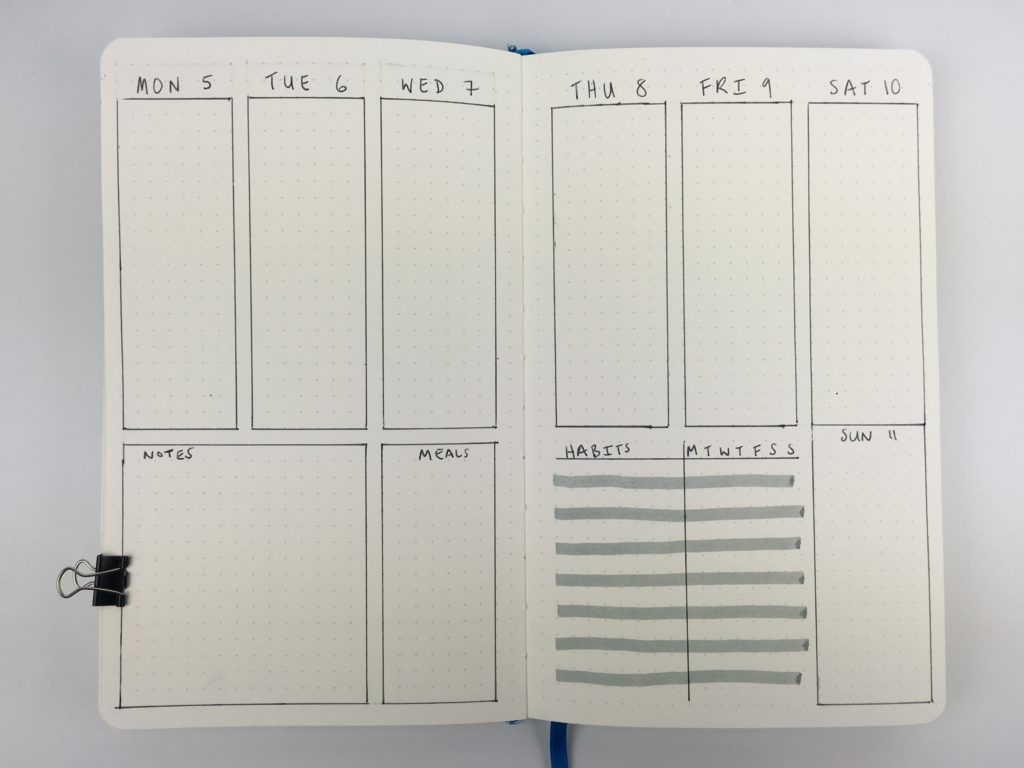 bullet journal weekly planner spread monday start habit tracker minimalist zebra mildliner grey weekly menu vertical 2 page simple