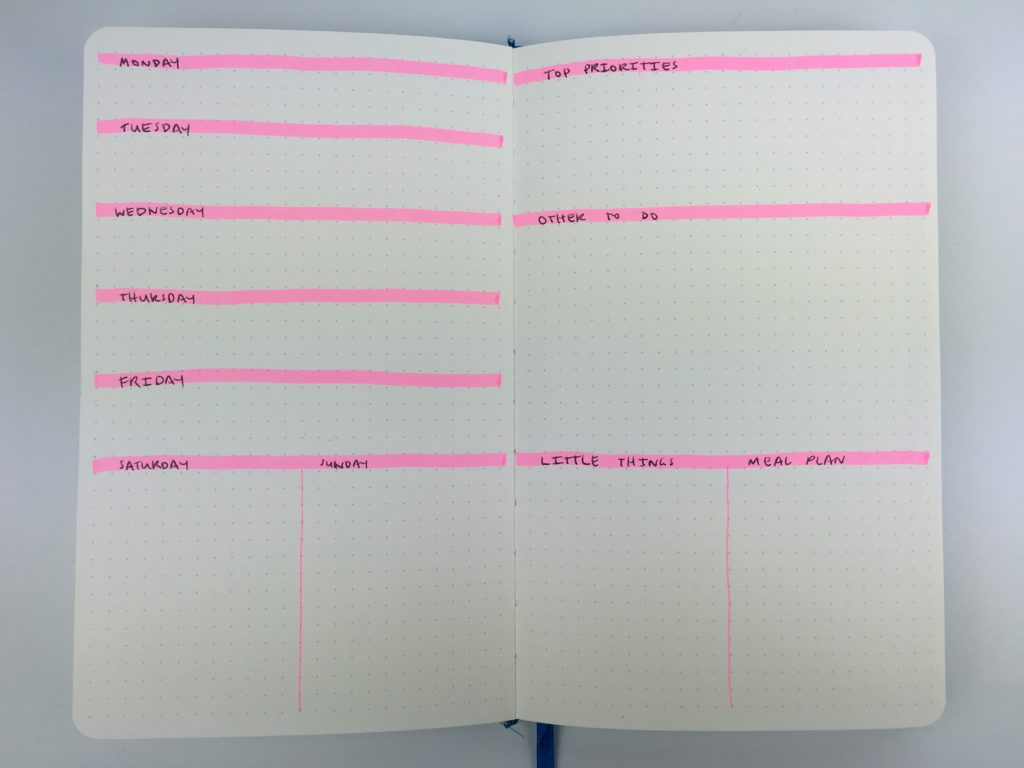 bullet journal weekly spread highlighters larger weekend planning monday start simple minimalist ideas tips inspiration inspo roundup sketches layouts