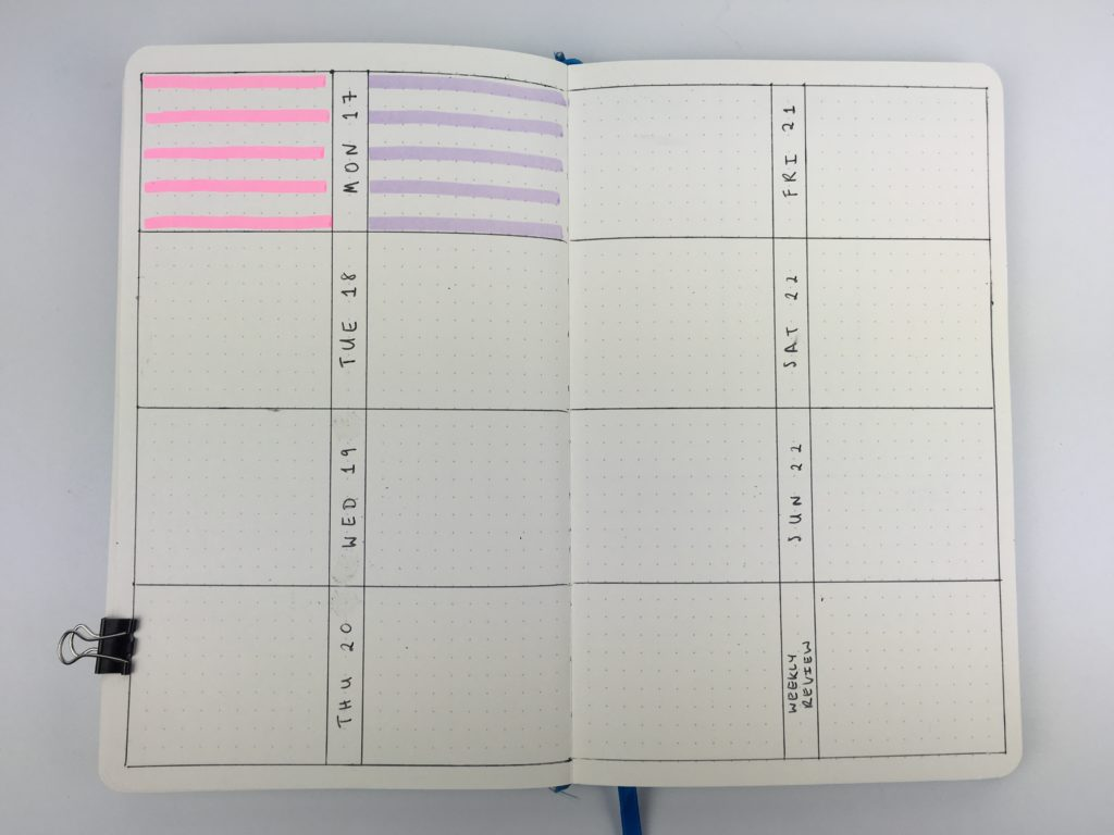 bullet journal weekly spread horizontal work personal 2 sections per day lined unlined highlighters color codng productivity focus