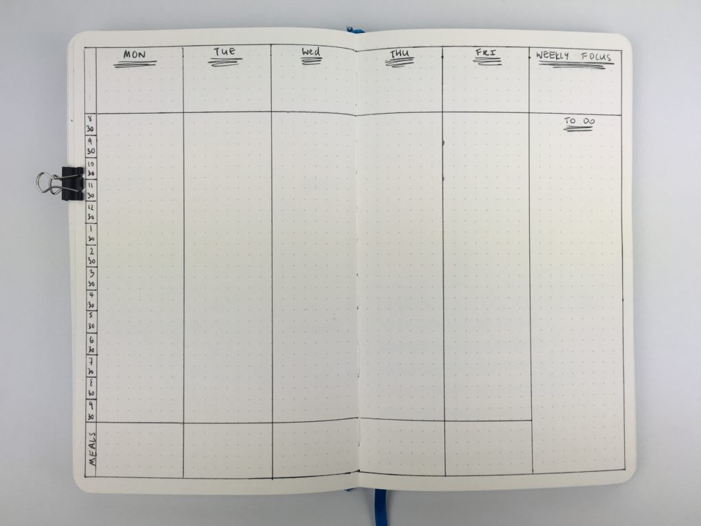 bullet journal weekly spread scheduling layout simple functional minimalist easy quick diy ideas inspiration