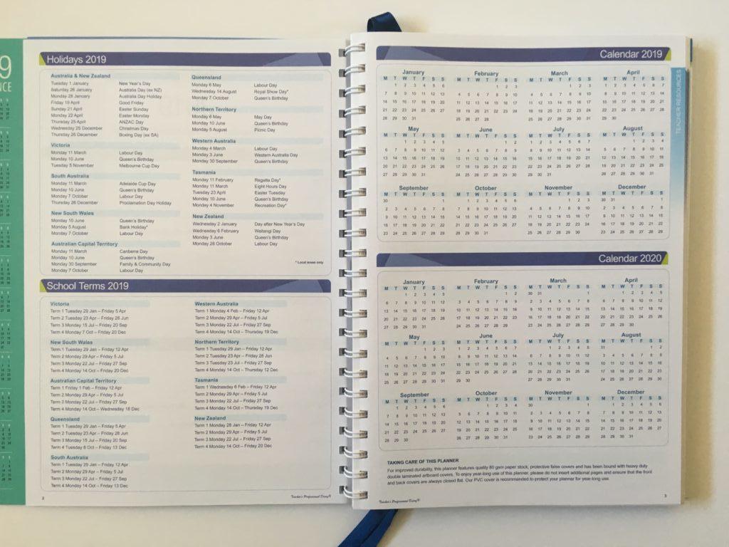 createl teacher planner review australian made a4 size school agenda organizer calendar academic year calendar year annual overview dates public holidays