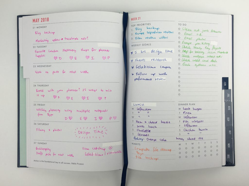 kikki k weekly planner review goals rainbow color coding pens blog planning habit routine recurring tasks bookbound diary agenda organizer goal setting
