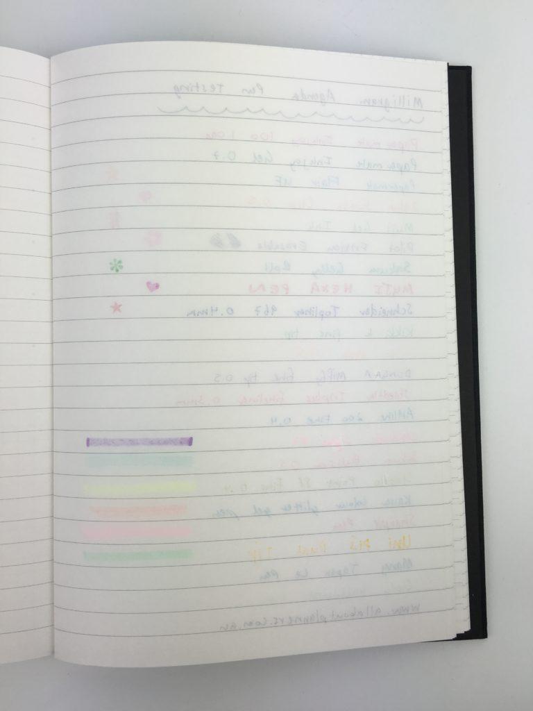 milligram australian planner pen testing planner review ghosting no bleed gel pen ballpoint highlighter stamp paper quality affordable planner