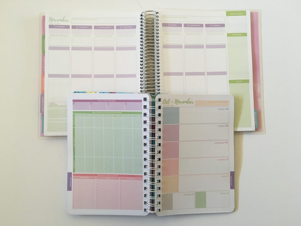 otto my goals weekly planner comparison 2018 2019 versions horizontal monday start 2 page weekly spread colorful