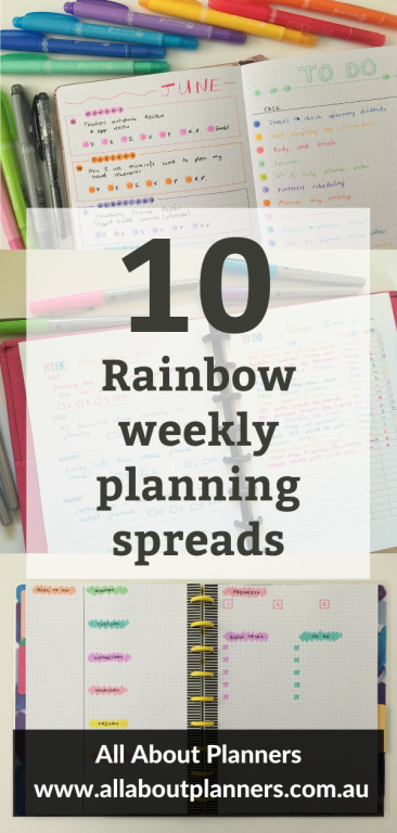 rainbow weekly planning spread ideas inspiration quick easy bullet journal planning tips all about planners blog dot markers highlighters pens