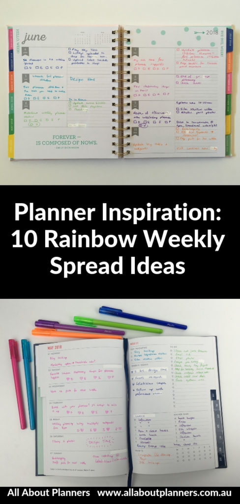 rainbow weekly spread ideas inspiration layout color coding themes decorating diy inspo