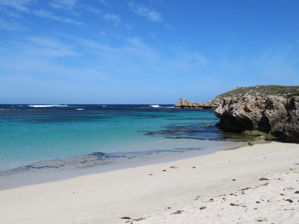 rottnest island little salmon bay pristine beach white sand blue water