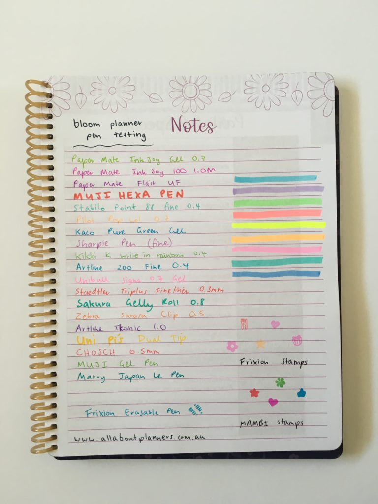 bloom student weekly planner review pros and cons video pen test highlighter fine tip gel stamps ghosting bleed through