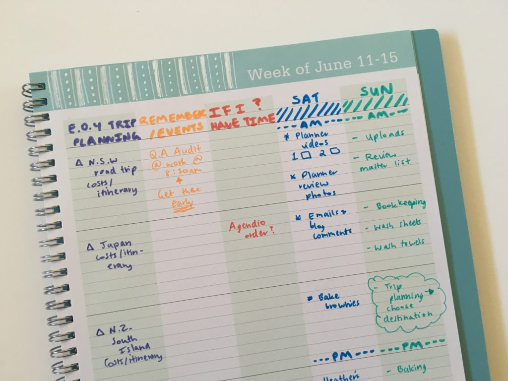 blue sky teacher planner rainbow weekly spread lined monday start smiggle dual tip scented pen