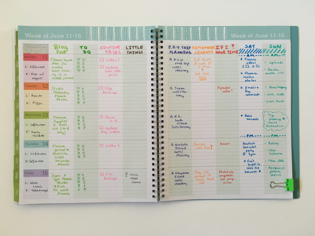 blue sky teacher planner review color coding by day rainbow weekly spread monday start categories family planner dual tip pens