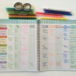 Rainbow weekly spread in converted Blue Sky Teacher Planner