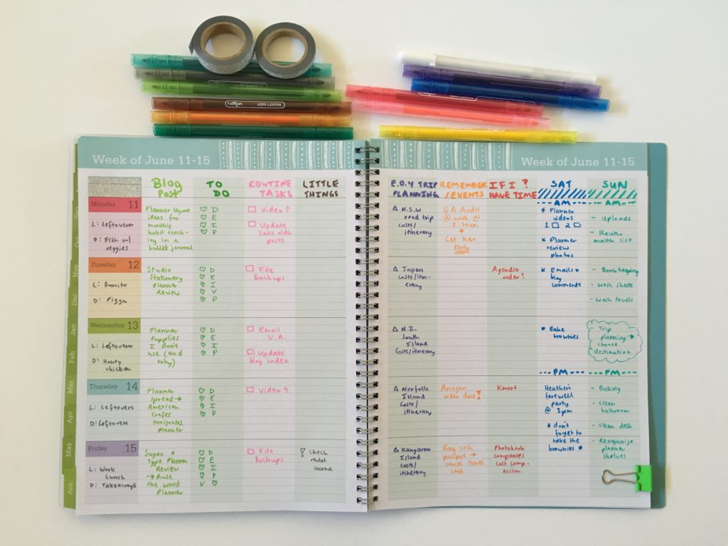blue sky teacher planner review convert to weekly planner family blog life travel colorful rainbow lined affordable